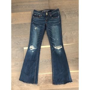 American Eagle Ripped Artist Flare Jeans Stretch